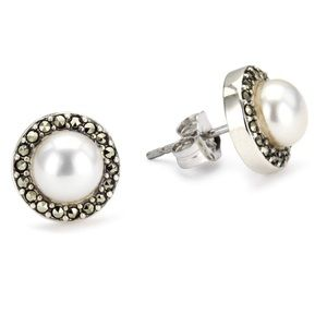 Judith Jack Sterling/Pearl/Marcasite Earrings
